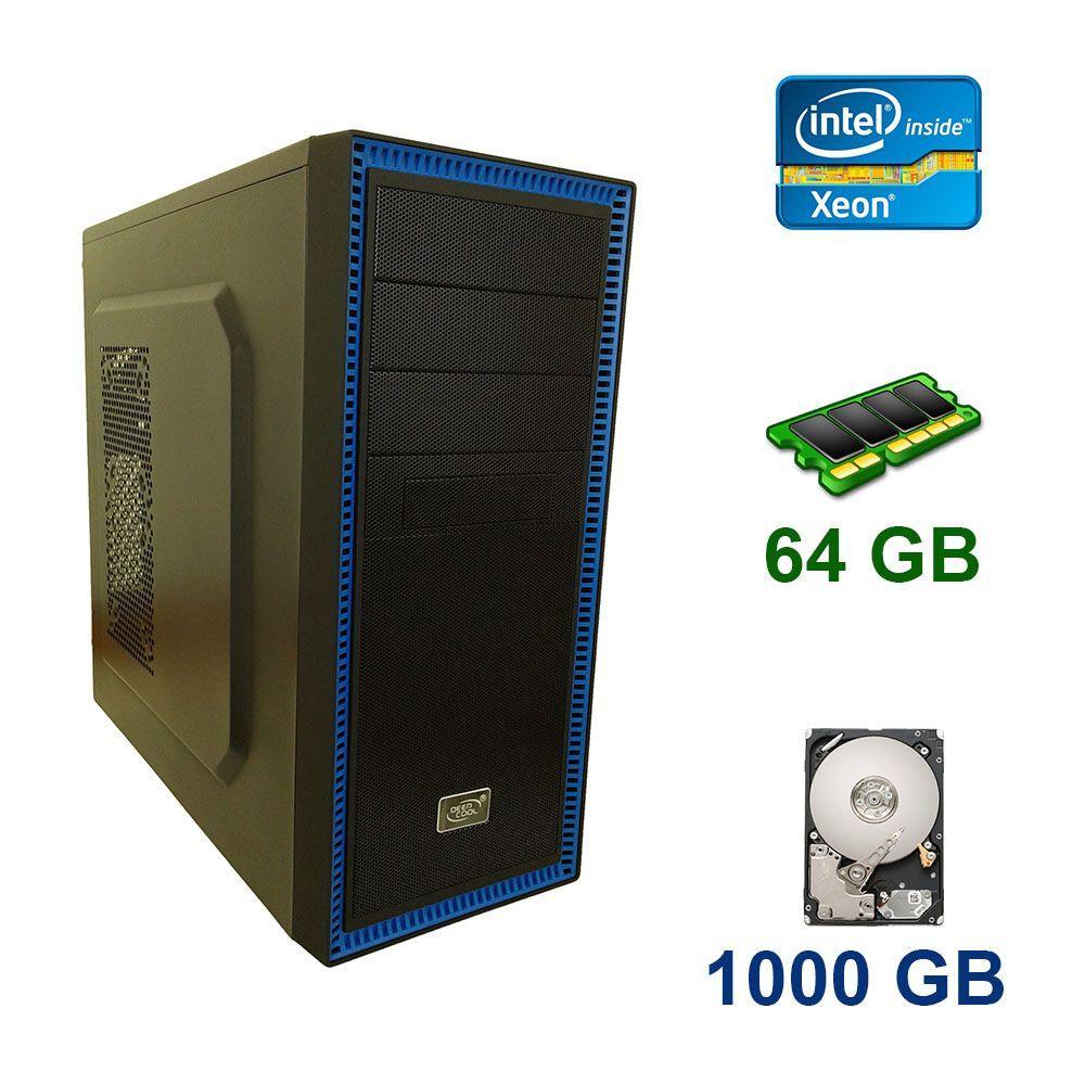 Midi-Tower / 2x Intel Xeon E5-2660 v2 (10 (20) ядер по 2.2 - 3.0 GHz) / 64 GB DDR3 / 1000 GB HDD / 650W