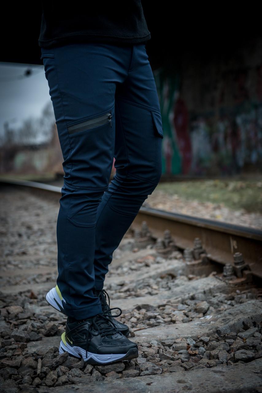 Теплые штаны карго синие Conqueror Intruder + подарок