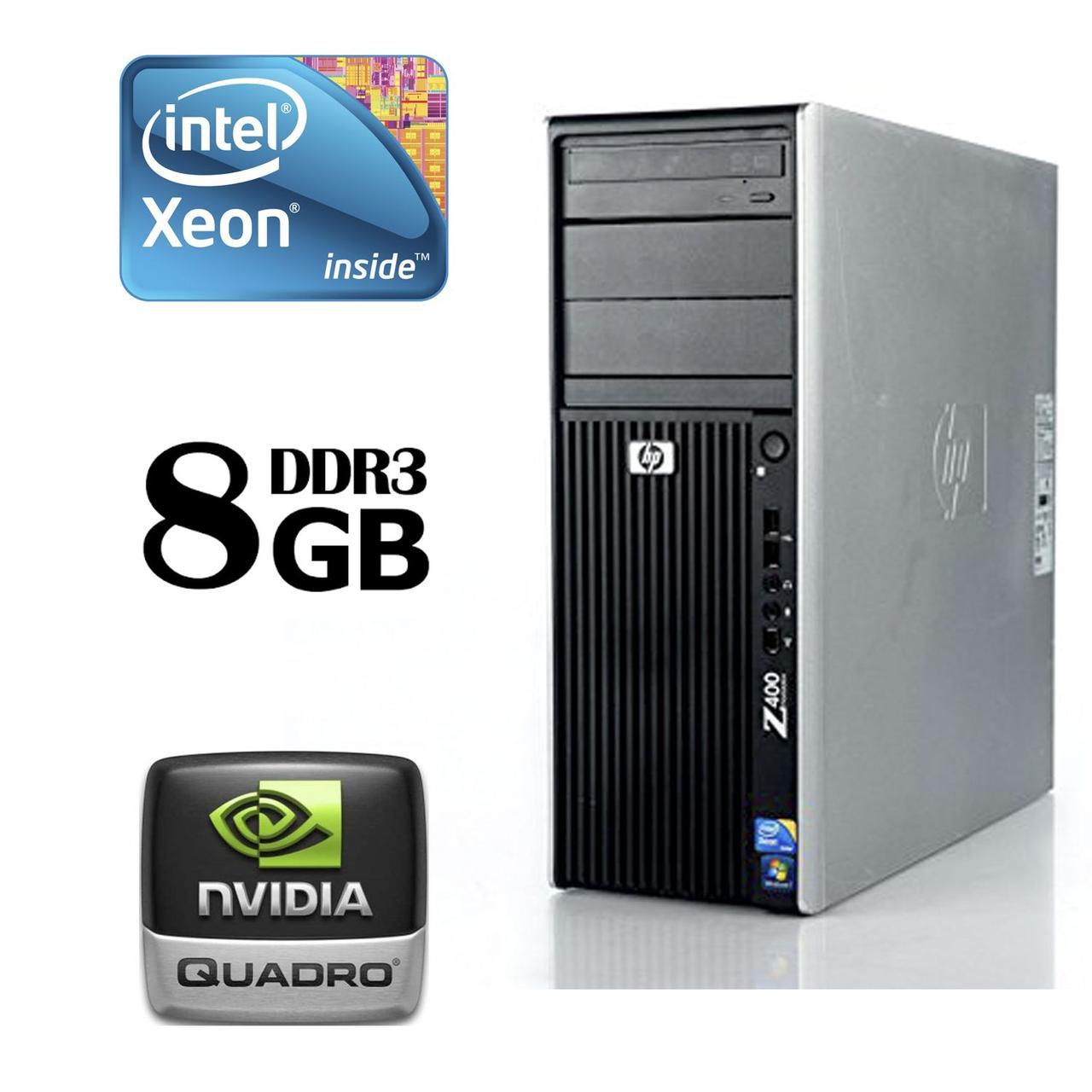 HP Z400 Workstation Tower / Intel® Xeon® W3520 (4 (8) ядра по 2.66 - 2.93 GHz) / 8 GB DDR3 ECC / 250 GB HDD /