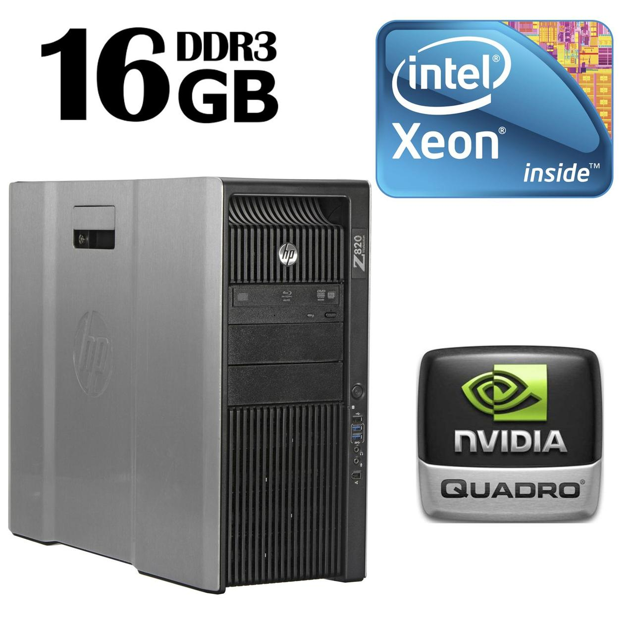 HP Z820 Workstation Tower / 2 процессора Intel® Xeon® E5-2609 (4 ядра по 2.40 GHz) / 16 GB DDR3 ECC / 300 GB