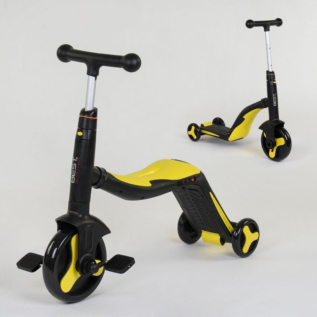 Детский самокат-велобег-велосипед 3 в 1 JT 10993 со световыми и звуковыми эффектами (8 песен), желтый