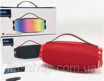 Беспроводная Bluetooth колонка JBL АК-202 МP3 FM цветомузыка (Красный)