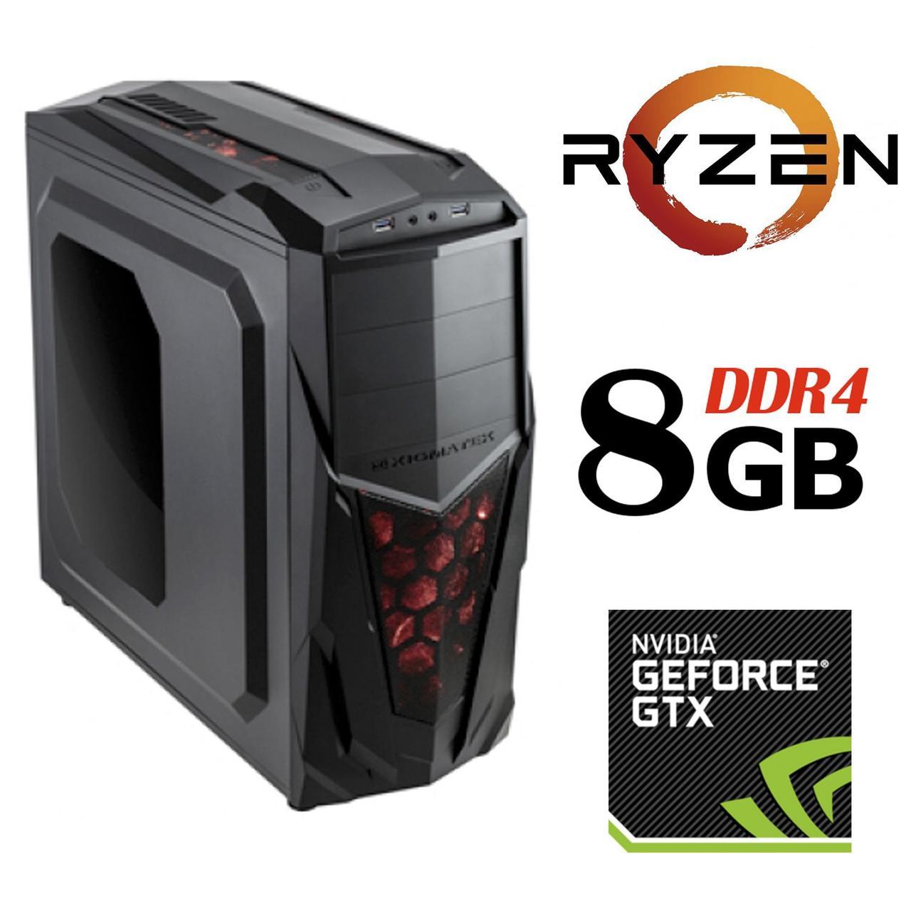 Xigmatech Mach II MT / AMD Ryzen™ 5 1400 (4 (8) ядра по 3.2 - 3.4 GHz) / 8 GB DDR4 / 1 TB HDD + 120 GB SSD / NVIDIA GeForce GTX 1050 Ti (4 GB GDDR5
