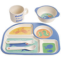 """Набор детской бамбуковой посуды 5 предметов (тарелки, вилка, ложка, стакан) """"Подводный мир"""" MH-2773-6"""