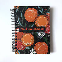 Блокнот-Скетчбук А5,160 ст. з чорними сторінками Апельсин