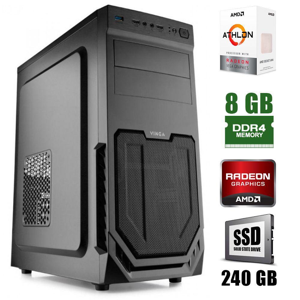 Vinga CS211B / AMD  Athlon™ 200GE (2(4)ядра по 3.2GHz) / 8GB DDR4 / 240GB SSD / 400W