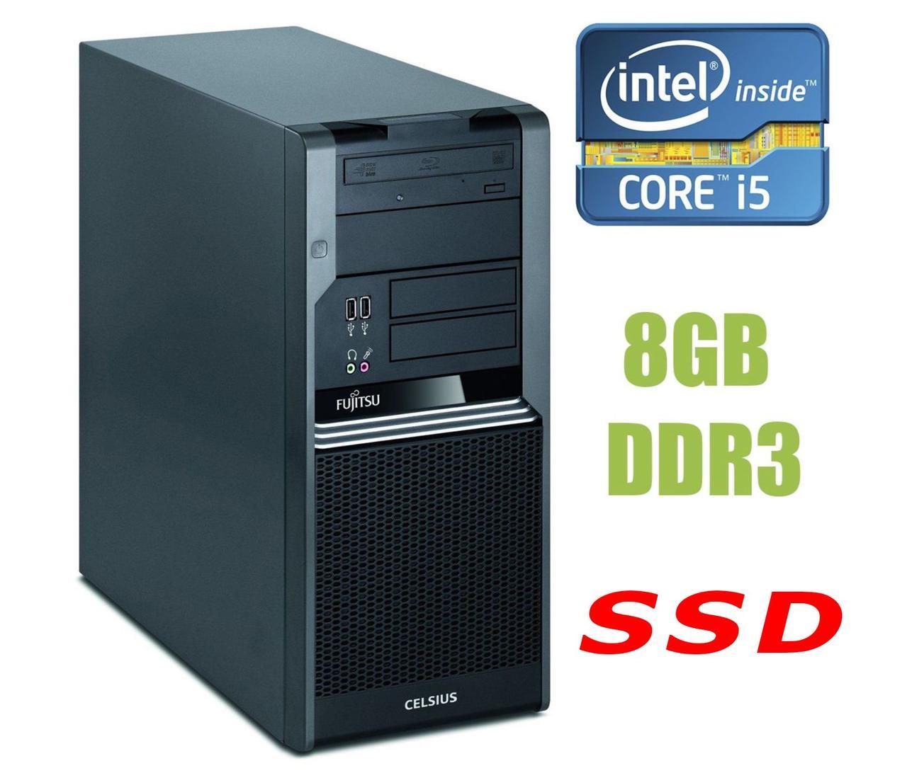Fujitsu Celsius W380 MT / Intel Core i5-650 (2(4) ядра по 3.2 - 3.46GHz) / 8GB DDR3 / 120GB SSD