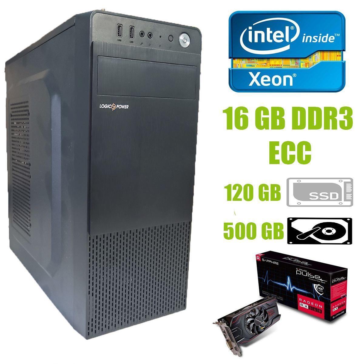 Logic Power LP2008 ATX / Intel Xeon E5-2440 (6 (12) ядер по 2.4-2.9 GHz) / 16 GB DDR3 ECC / new 120 GB SSD+500 GB HDD / AMD Radeon RX 560 4GB GDDR5