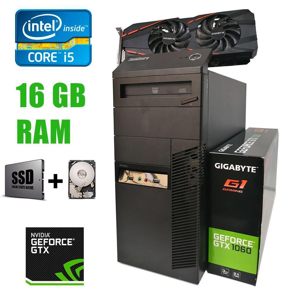 EuroCom Tower / Intel Core i5-2400 (4 ядра по 3.1-3.40GHz) / 16GB DDR3 / new! 120GB SSD+500Gb HDD / new! БП 1300W / GeForce GTX 1060 3Gb DDR5 192bit /