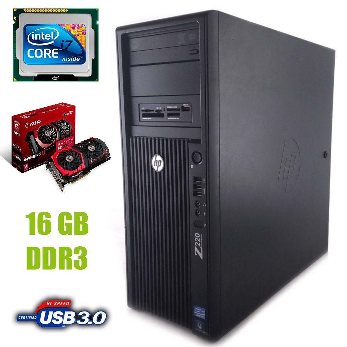 HP Z220 Tower / Intel Core i7-3770 (4 (8) ядра по 3.40 - 3.90 GHz) / 16 GB DDR3 / new! 120 GB SSD +500 GB HDD / Radeon RX480 8GB GDDR5 256bit
