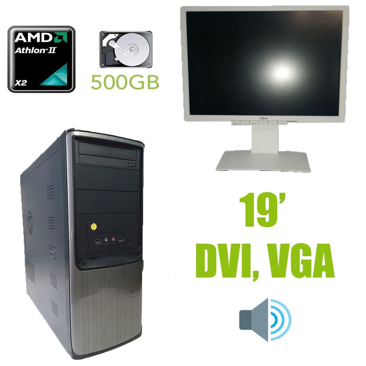 AMD Tower / AMD Athlon x2 255 (2 ядра по 3.1GHz) / 4GB DDR3 / 500GB HDD / HEC 350W + монитор Fujitsu-Siemens