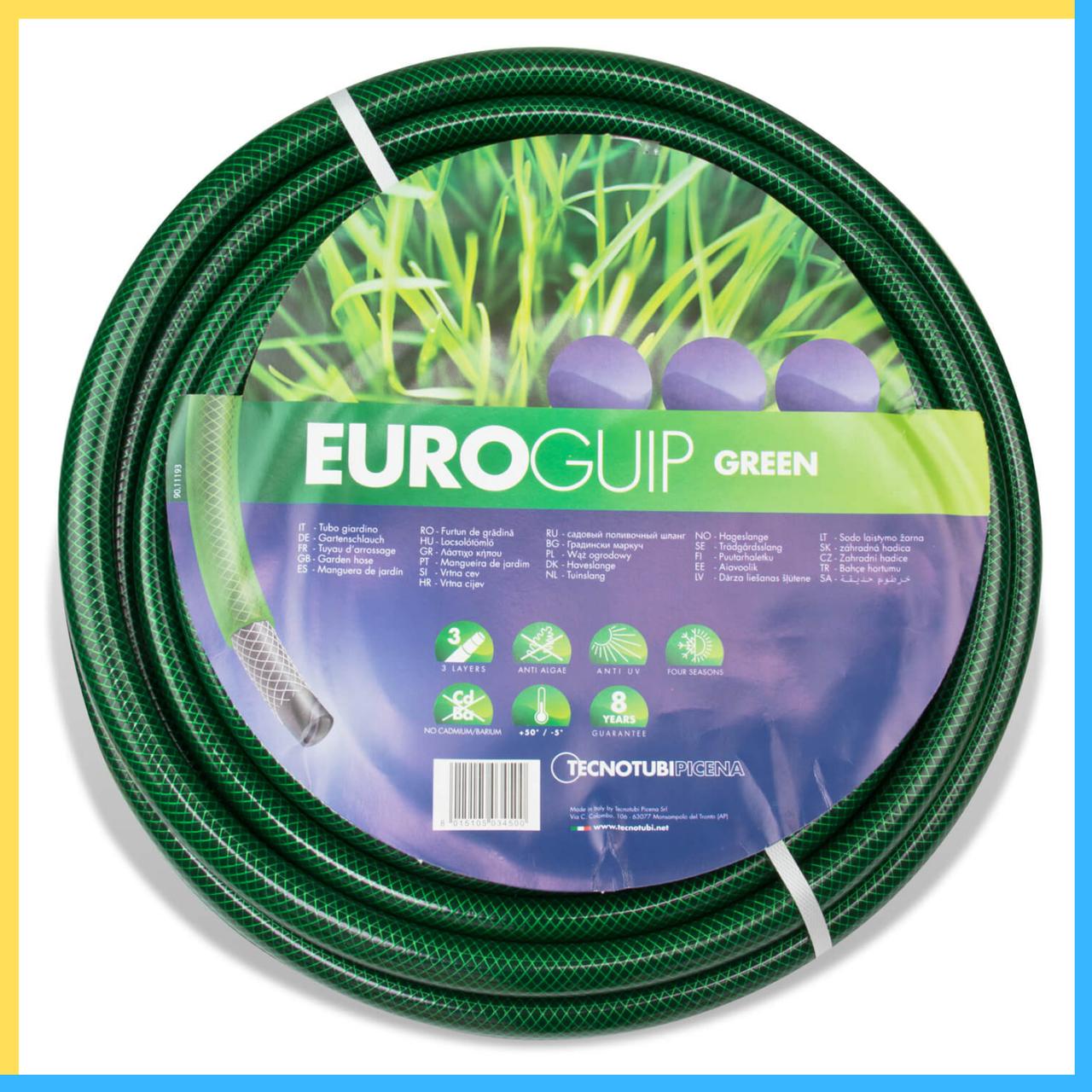 """Шланг поливочный Tecnotubi Euro GUIP GREEN 1"""" дюйм  25 м"""