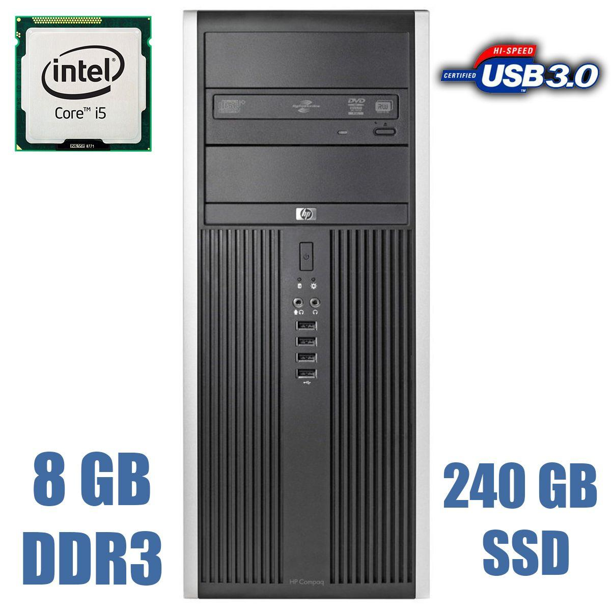 HP Compaq 8300 Elite Tower / Intel Core i5-3470 (4 ядра по 3.20 - 3.60 GHz) / 8GB DDR3 / new! 240GB SSD + 500GB HDD