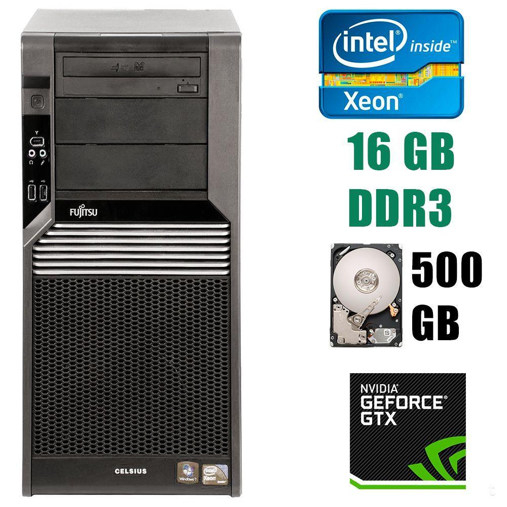 Fujitsu Celsius M470 Tower / Intel Xeon X5650 (6(12)ядер по 2.66-3.06GHz) / 16 GB DDR3 / 500 GB HDD / GeForce GTX 1060 6GB GDDR5 192bit