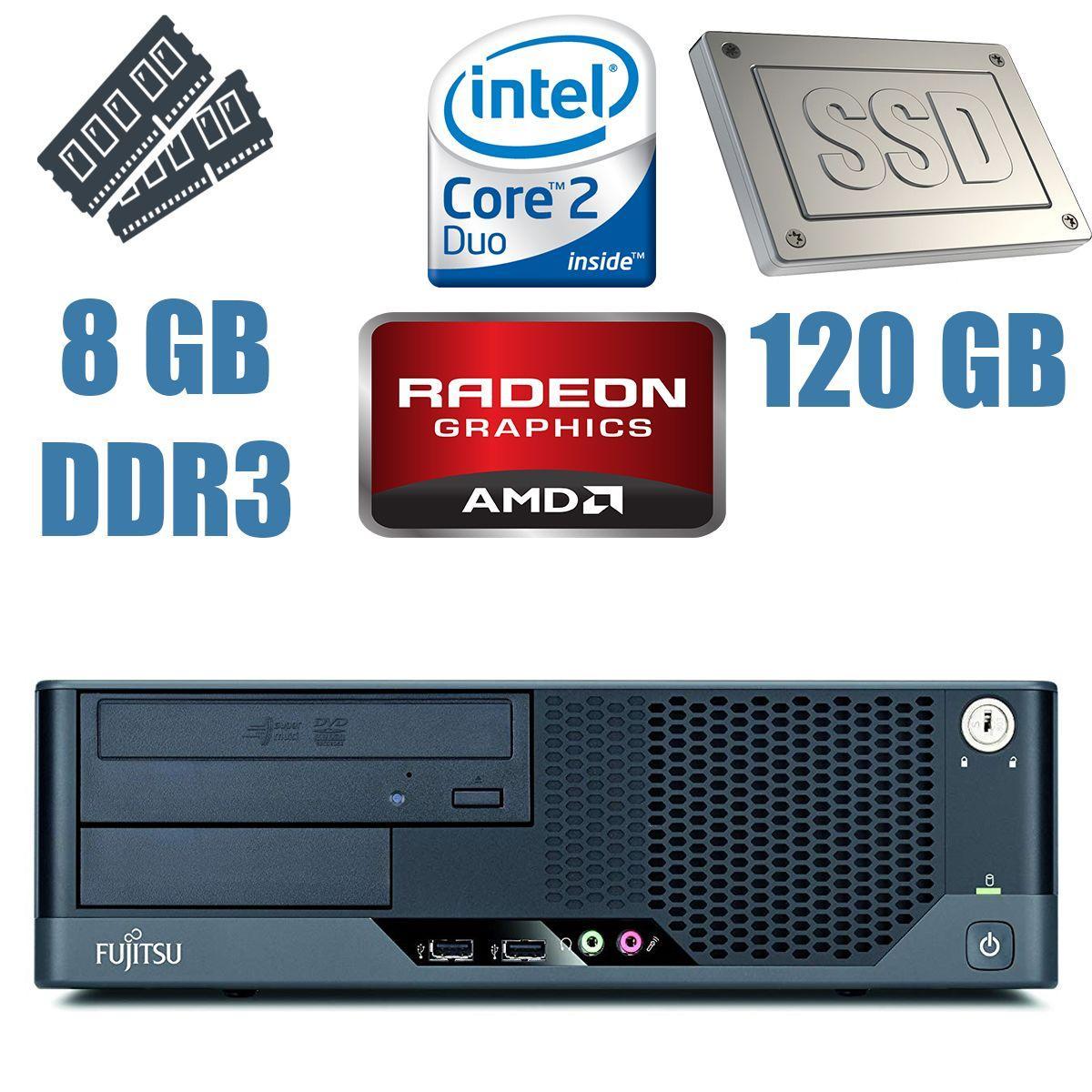 Fujitsu e7935 DT / Intel Core 2 Duo E8500 (2 ядра по 3.16GHz) / 8 GB DDR2 / 120 GB SSD / AMD Radeon 5450 1GB GDDR3