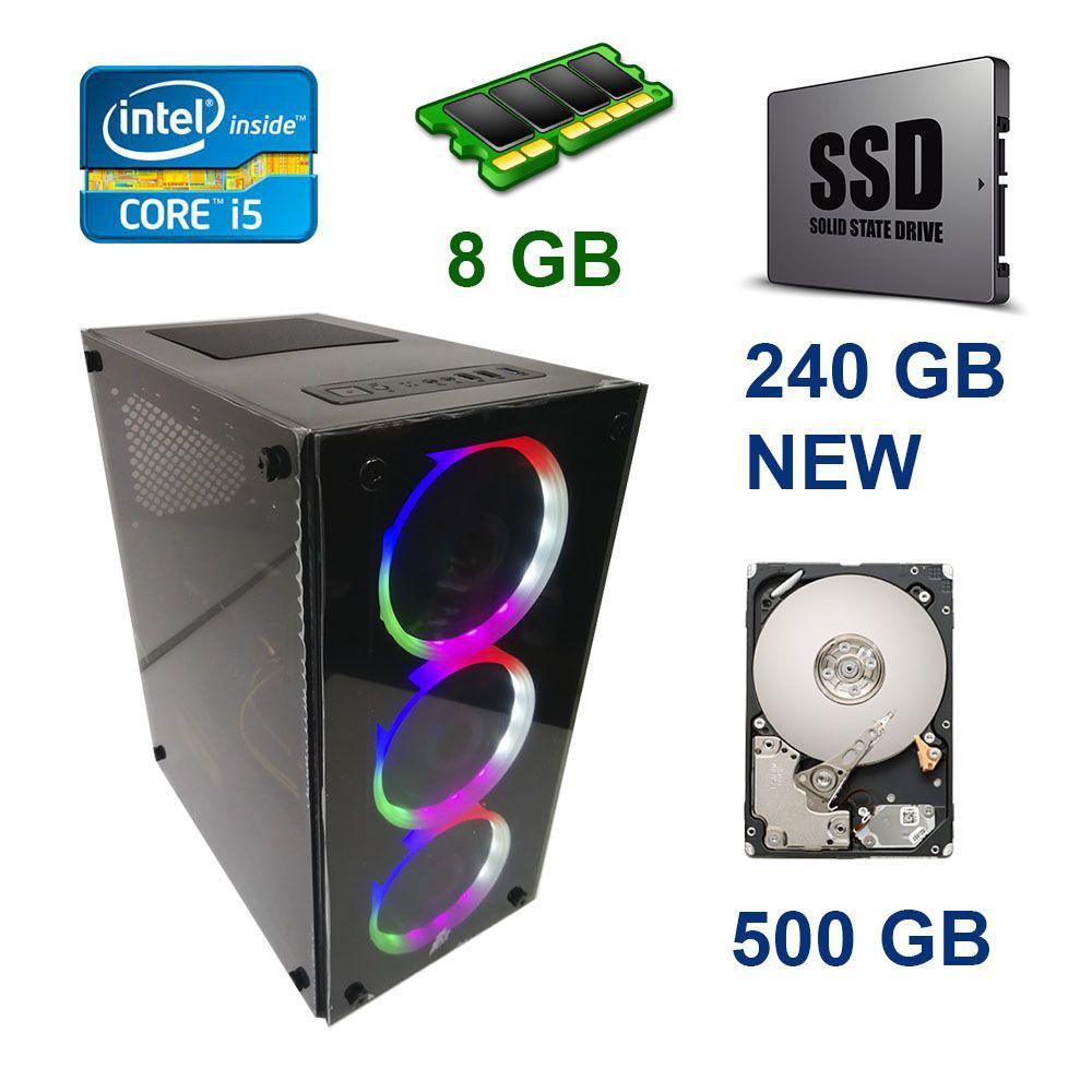 First Player ATX NEW / Intel Core i5-4570 (4 ядра по 3.2 - 3.6 GHz) / 8 GB DDR3 / 120 GB SSD NEW+500 GB HDD /