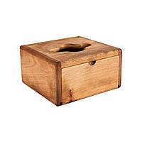 Диспенсер настольный квадратный бамбуковый под салфетку V-складка