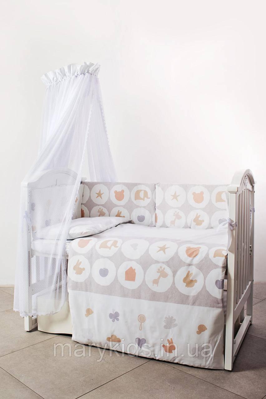 Дитяче ліжко Twins Eco Line 4091-E-020 Animals Beige 6 елементів