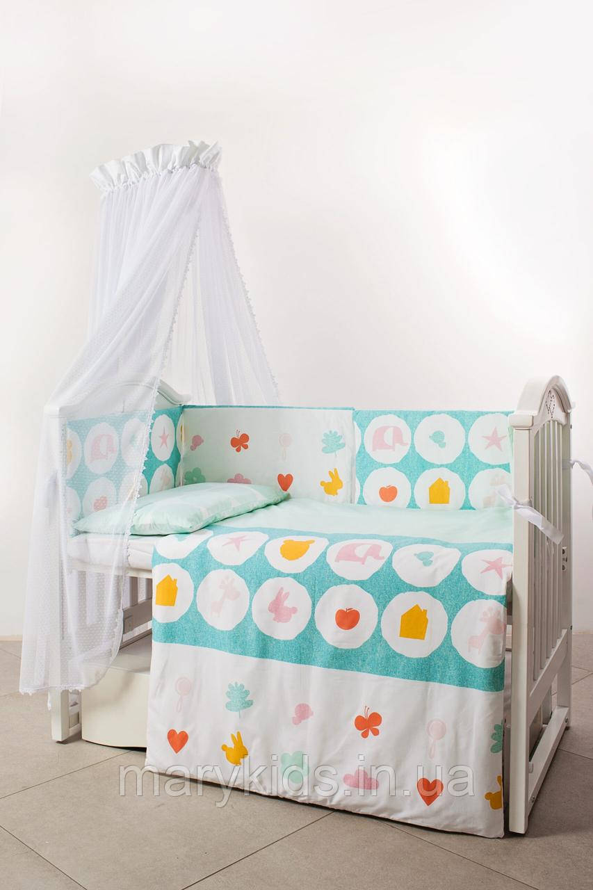 Дитяче ліжко Twins Eco Line 4091-E-021 Animals Mint 6 елементів
