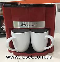 Кофеварка Domotec MS-0705 Red + 2 керамические чашки, фото 1