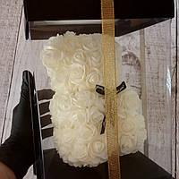Мишка из 3D роз 25 см в подарочной упаковке, мишка из роз, оригинальный подарок для девушки белый (живые фото)