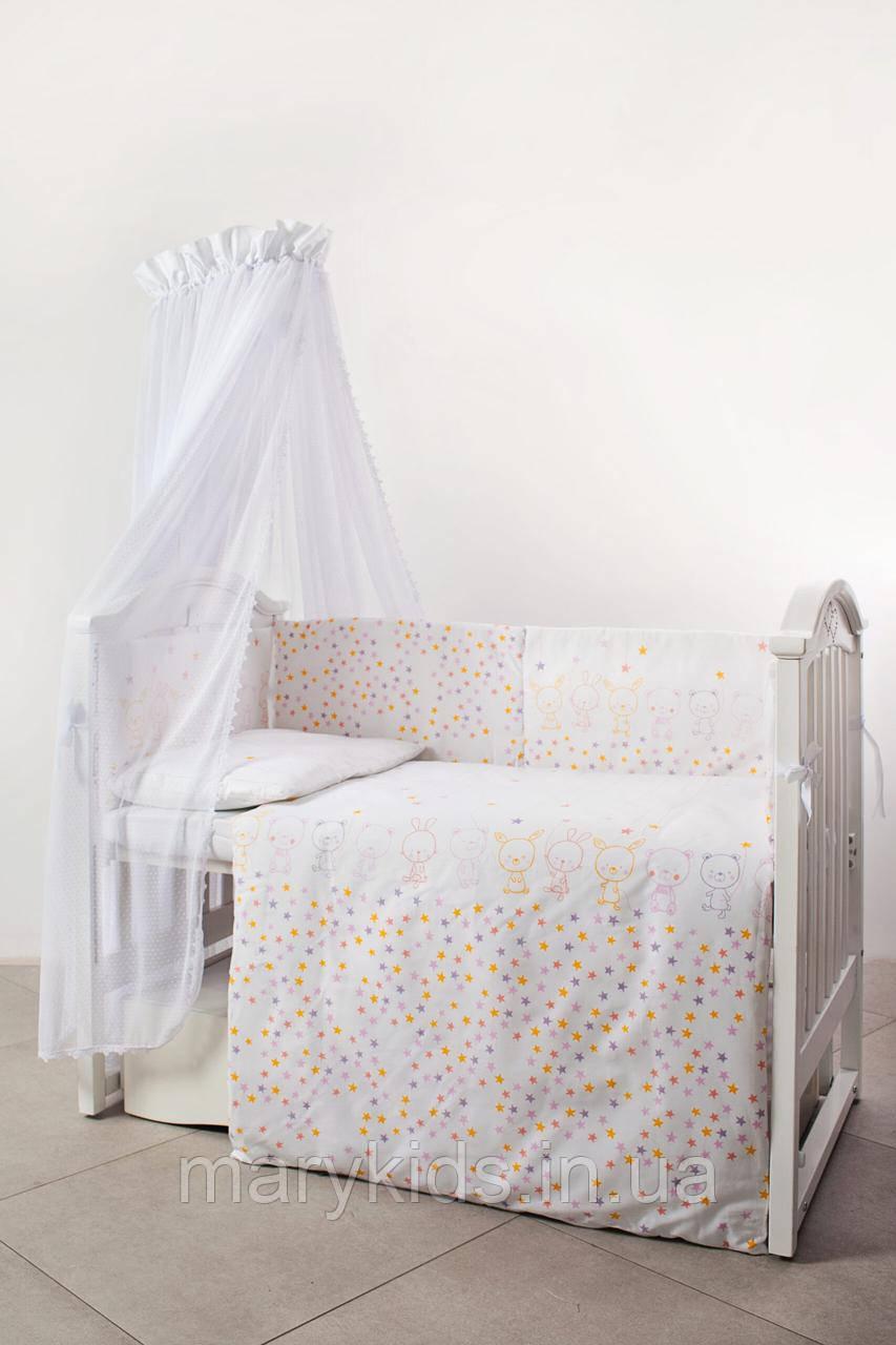 Дитяче ліжко Twins Eco Line 4091-E-023 Bunnies Pink 6 елементів