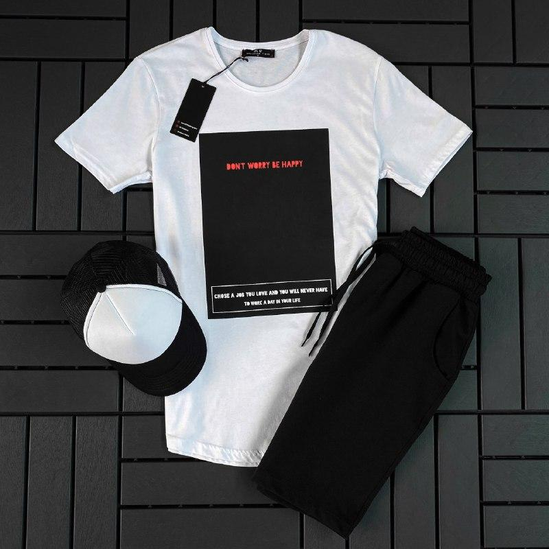 Мужской летний спортивный костюм ( футболка + шорты + кепка )