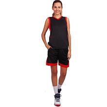 Форма баскетбольная женская, полиэстер, р-р L-3XL, рост 155-175см., черный (LD-8217-(blk))