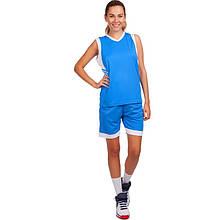 Форма баскетбольная женская, полиэстер, р-р L-3XL, рост 155-175см., голубой (LD-8217-(bl))