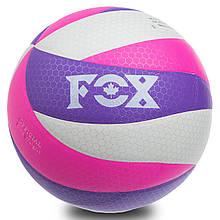 Мяч волейбольный FOX, PU, с сотами, №5, 5 сл., клееный, белый (SD-V8005)
