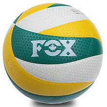 Мяч волейбольный FOX, PU, с сотами, №5, 5 сл., клееный, зеленый (SD-V8005)
