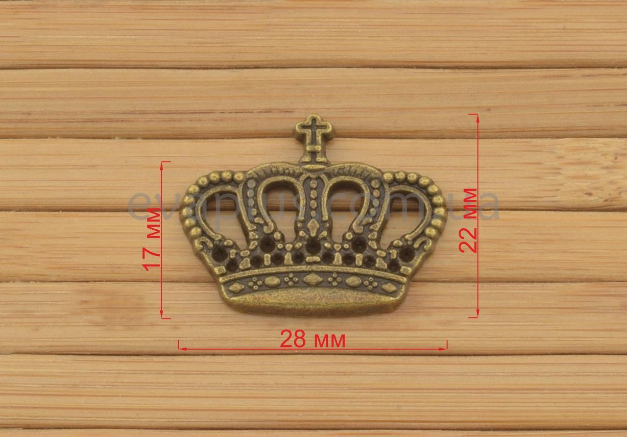 """Металлическая накладка """"Корона"""" 28*22 мм"""