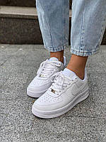 Белые кроссовки Nike Air Force 1 Low White (Найк Аир Форс низкие кожаные женские и мужские размеры 36-45) 47