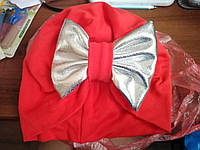 Шапка-тюрбан (чалма) с бантиком. Красная! Размер 46-52 см