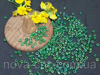 Бисер мелкий №12 Зеленый бензиновый 450 грамм