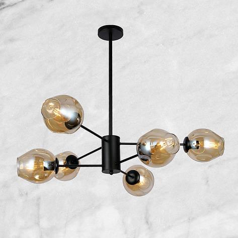 Чёрная люстра на 6 кофейных молекулы, фото 2