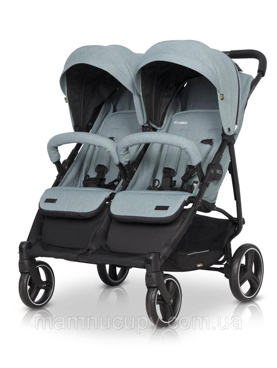 Детская коляска 2 в 1 для двойни EasyGo Domino 2020 Mineral с двумя люльками