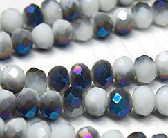 Бусины хрустальные (Рондель) 8х6мм  пачка - примерно 70 шт, цвет - двухцветные сине белые