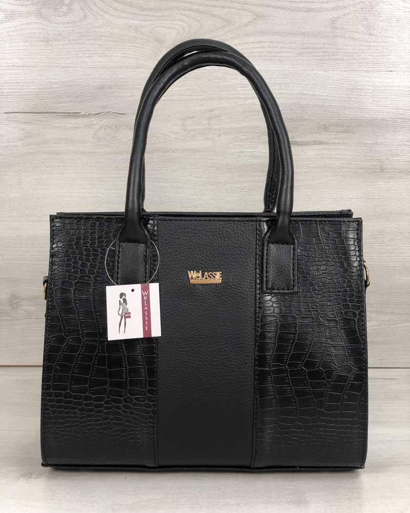 Каркасная женская сумка Селин черного цвета со вставками черный крокодил