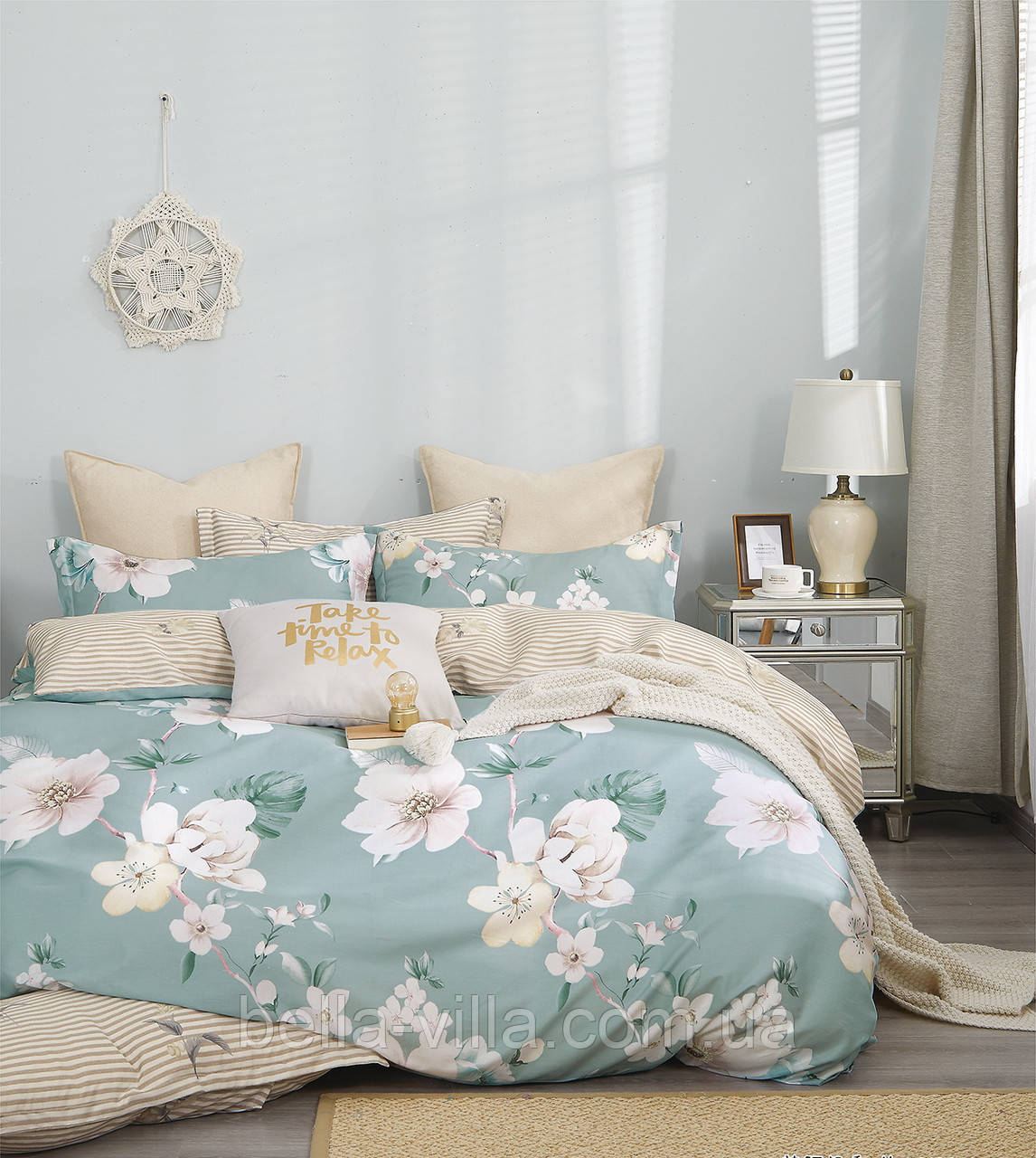Комплект постельного белья Bella Villa сатин Евро зеленый