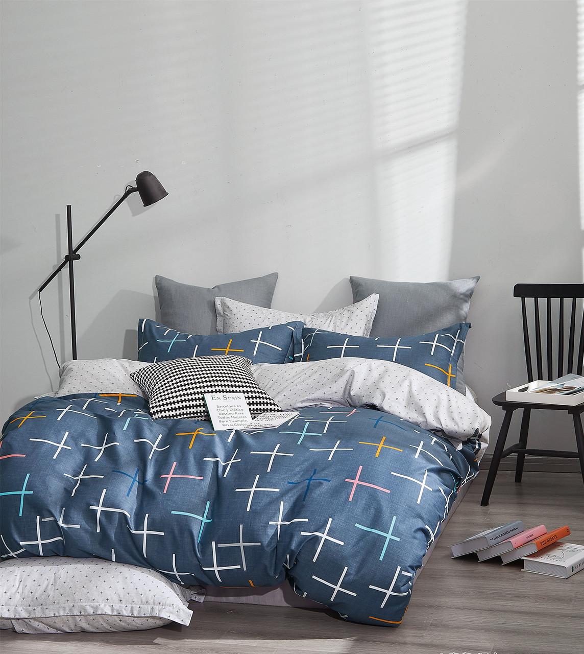 Комплект постельного белья Bella Villa сатин Евро синий