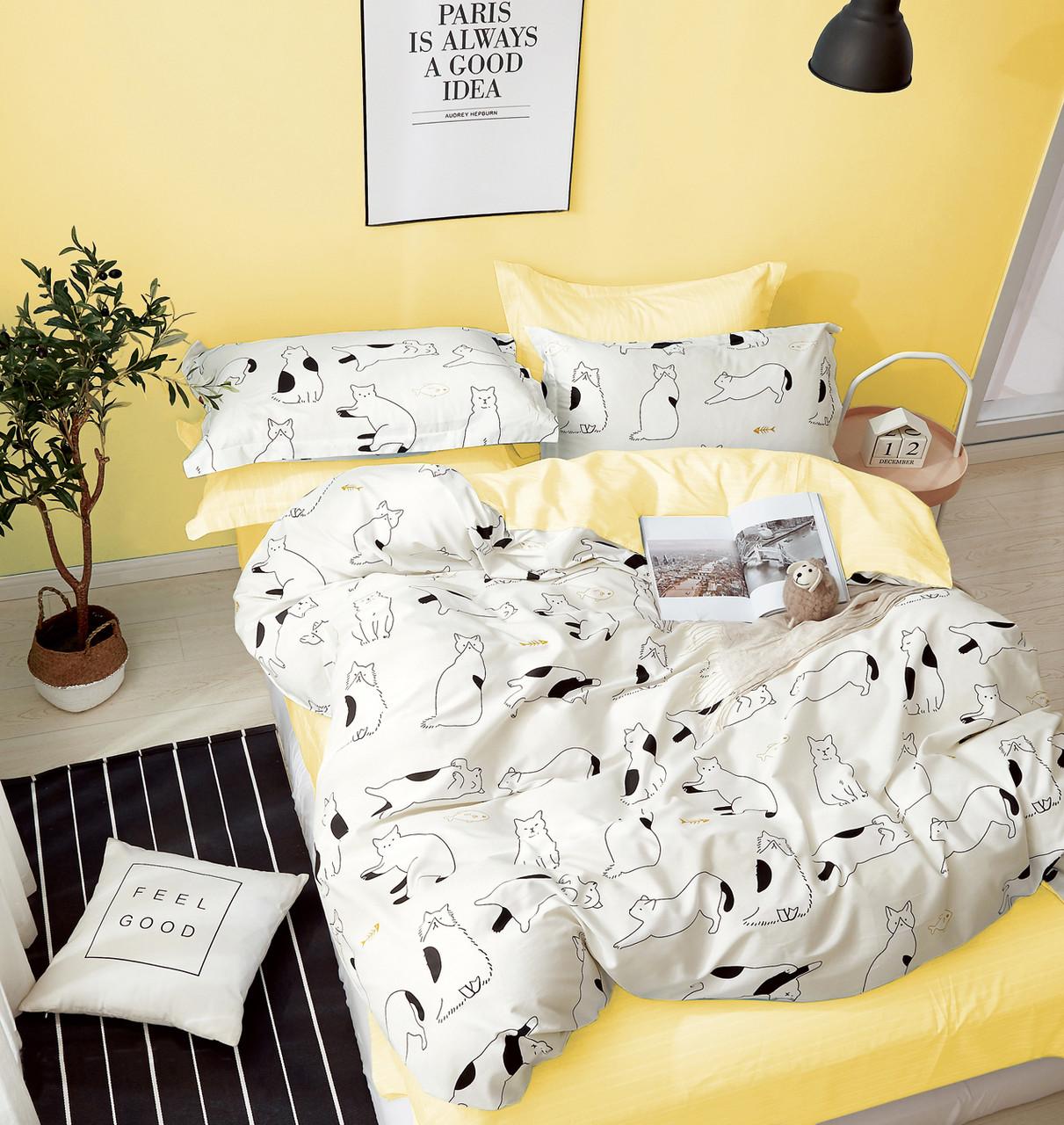 Комплект постельного белья Bella Villa сатин Евро бежево-желтый