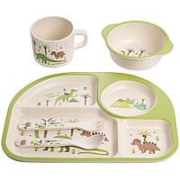 """Набор детской бамбуковой посуды 5 предметов (тарелки, вилка, ложка, стакан) """"Динозавры"""" MH-2773-4"""