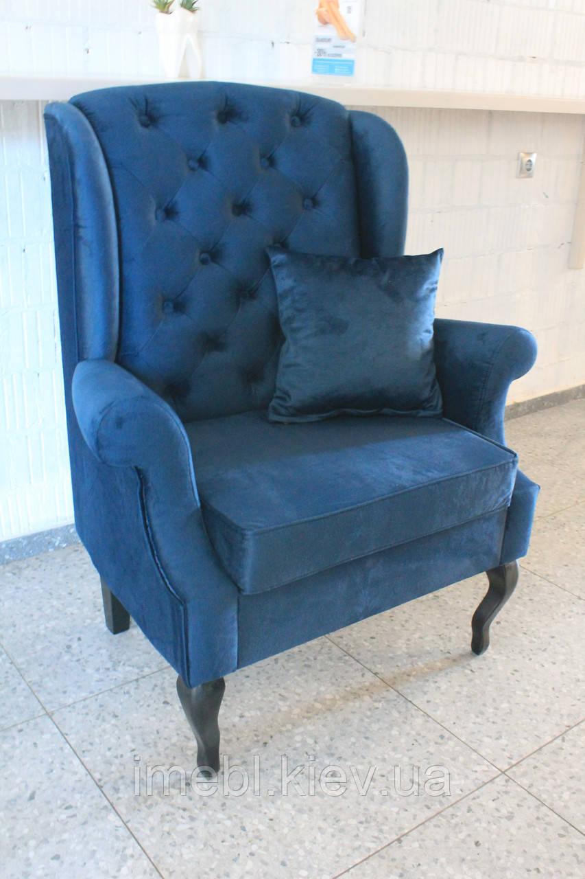 Мягкое кресло в стиле прованс (Синий бархат)
