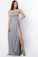 Длинное вечернее платье на бретелях с высоким вырезом на ноге