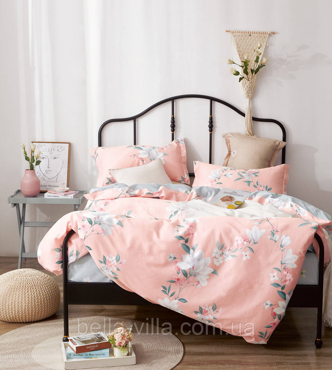 Комплект постельного белья семейный Bella Villa сатин розовый с цветами