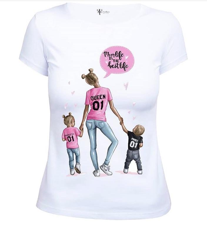 """Стильная женская белая футболка с принтом """"Мама дочки и сына"""""""