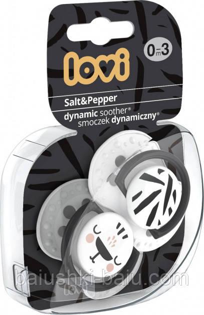 Пустушка Lovi Salt & Pepper силіконова динамічна 0-3 місяців Біла з сірим 2 шт