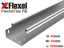 Лоток цельнометаллический, оцинкованный 50x40x3000x0,6 мм Plechoflex FB