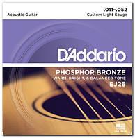 Струны для акустической гитары D`ADDARIO EJ26 PHOSPHOR BRONZE CUSTOM LIGHT 11-52